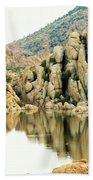 Prescott Arizona Watson Lake Water Mountains Lake Rocks Sky Reflections 4831 Beach Towel