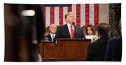President Donald J. Trump Delivers His State Of The Union Address At The U.s. Capitol 2 Beach Towel