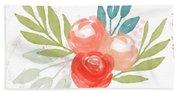 Pretty Coral Roses - Art By Linda Woods Beach Sheet