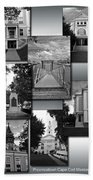 Provincetown Town Hall Cape Cod Massachusetts Collage Bw Vertical Beach Towel