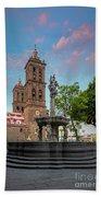 Puebla Zocalo And Cathedral Beach Towel