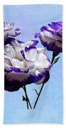 Purple And White Lisianthus Beach Towel