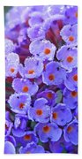 Purple Flowers In The Morning Dew Beach Towel