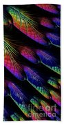Rainbow Colored Peacock Tail Feathers Fractal Abstract Beach Towel by Rose Santuci-Sofranko
