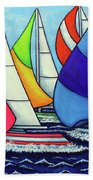 Rainbow Racing Regatta Beach Towel by Lisa Lorenz