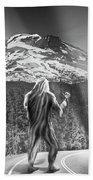 Rear View Of A Sasquatch Hitchhiking Beach Towel