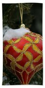 Red And Gold Ornament Beach Towel
