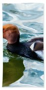 Red Crested Red Beak Red Eye Duck Beach Towel