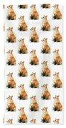 Red Fox Watercolor Pattern Beach Towel