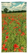 Red Poppies Meadow Beach Towel