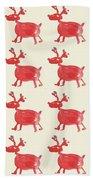 Red Reindeer Pattern Beach Towel