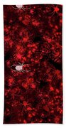 Red Spider Bokeh Pattern Beach Towel