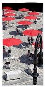 Red Umbrellas 2 Beach Sheet