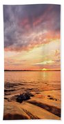 Reflect The Drama, Sunset At Fort Foster Park Beach Towel by Jeff Sinon