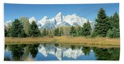 Reflection Of Mountains In Water, Grand Beach Towel