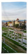 Remains Of The Roman Agora And Cityscape Of  Athens, Greece Beach Towel