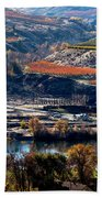 River, Canyon And Slopes Beach Towel