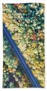 Road Through Colorful Autumn Forest Beach Towel