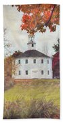 Round Church In Vermont Autumn Beach Towel by Jeff Folger