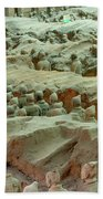 Rows Of Terra Cotta Warriors In Pit 1 Beach Towel
