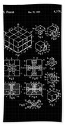 Rubik's Cube Patent 1983 - Black And White Beach Towel by Marianna Mills