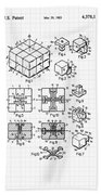 Rubik's Cube Patent 1983 Beach Towel by Marianna Mills