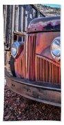 Rusty Old Truck In A Ghost Town In Arizona Beach Sheet
