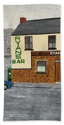Ryans Pub And Swords Castle Painting Beach Towel