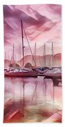 Sailboat Reflections At Sunrise Abstract Beach Towel