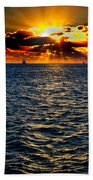 Sailboat Sunburst Beach Towel