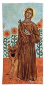 Saint Francis And The Wolf Of Gubbio Beach Sheet