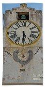 Saint Mary Church Clock Tower In Tavira. Portugal Beach Towel