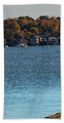 Salem Derby Wharf Lighthouse Flooded Beach Towel by Jeff Folger