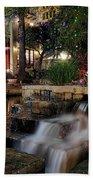San Antonio Riverwalk Waterfall - Christmas - Texas Beach Towel by Jason Politte