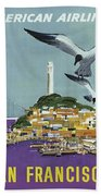 San Francisco American Airlines Beach Towel