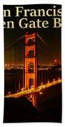San Francisco Golden Gate Bridge At Night Beach Sheet