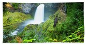 Scenic View Of Waterfall, Portland Beach Towel