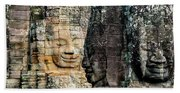 Sculptures At Bayon Temple, Angkor Beach Towel