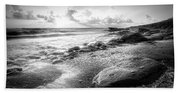 Seashells On The Seashore In Black And White Beach Towel