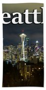Seattle At Night Beach Towel