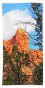 Sedona Adobe Jack Trail Blue Sky Clouds Trees Red Rock 5130 Beach Towel