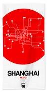 Shanghai Red Subway Map Beach Towel
