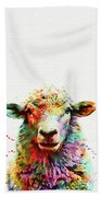 Sheep Portrait Beach Towel
