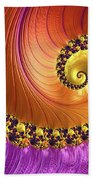 Shiny Purple And Gold Spiral Beach Towel
