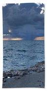 Shoreline Rain Clouds Beach Towel