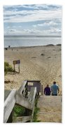 Shoreline Staircase By Uscg Station Chatham Cape Cod Massachusetts Beach Towel