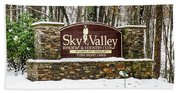 Sky Valley Georgia Welcome Sign In The Snow Beach Sheet