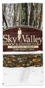 Sky Valley Georgia Welcome Sign In The Snow Beach Towel
