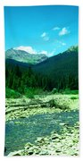 Small Stream Foreground The Rockies Beach Towel