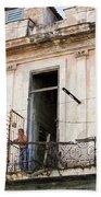 Smoker On Balcony In Cuba Beach Towel